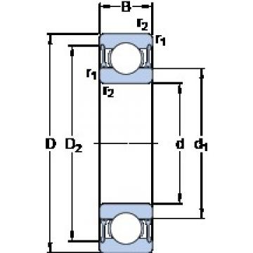 30 mm x 62 mm x 16 mm  SKF 6206-2RZ deep groove ball bearings
