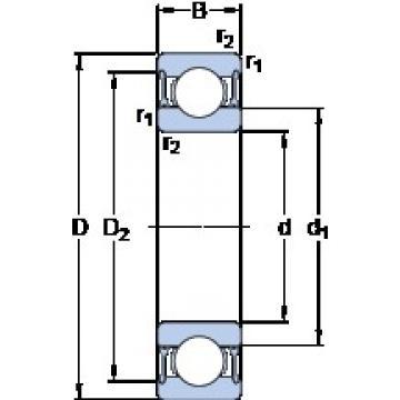 80 mm x 110 mm x 16 mm  SKF 61916-2RZ deep groove ball bearings
