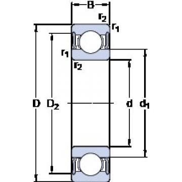 80 mm x 110 mm x 16 mm  SKF 61916-2RS1 deep groove ball bearings